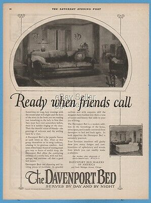 1923 Davenport Bed of America Chicago IL 1920's sofa bed When friends call ad