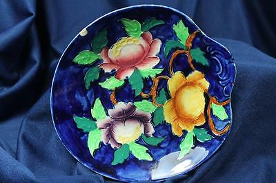 """COBALT FLORAL MAILING NEW CASTLE ON TYNE  8"""" MINT DISH as is"""