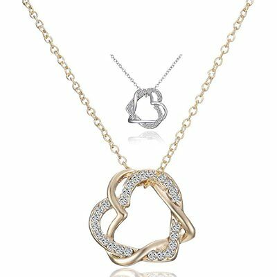 Fashion Gold/Silver Plated Double Heart Chain Crystal Drop Pendant Necklace Gift