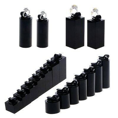 7Pcs/Set Black Acrylic Finger Ring Display Stand Holder Jewelry Showcase Decor