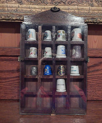 Wooden Wall Hanging 20 Thimble Glass Front Holder Display W/ 13 Thimbles