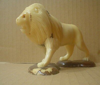 Walking Lion Figurine Hand Carved ~ Tagua Nut Carving ~ Vegetable Ivory
