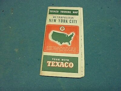 Vintage 1939 Texaco New York City Metropolitan Road Map Gas Oil Service Station