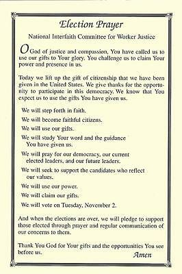 ELECTION PRAYER Older Note card Nat'l. Interfaith Committee for Worker Justice