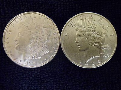 Morgan Silver Dollar 1921 & 1923 Peace Dollar .900 Silver Circulated