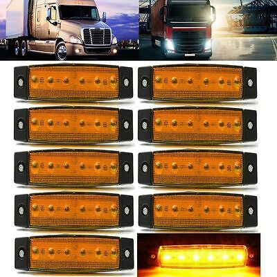 10x 6 LED Clearance Side Marker Light Indicator Lamp Strip Truck Trailer Lorry