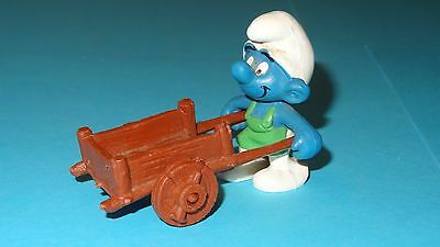 Smurfs Gardener Super Smurf with Wheelbarrow Rare Vintage Display Figurine