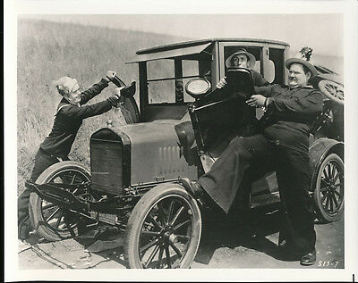 Laurel & Hardy Wiith Antique Car And Old Lady Black & White 8 X 10 Photo