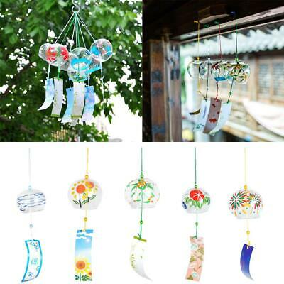 Japanese Glass Furin Wind Chime Hand-painted Home Garden Patio Decorative Crafts