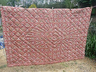 Fabulous Antique Single Size Paisley Hand Made Boutis Quilt Bed Throw Ap French