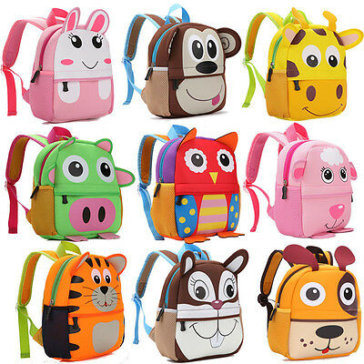KidsToddler Backpack School Bag 3D Cartoon Animal Children BoysGirls Rucksack UK