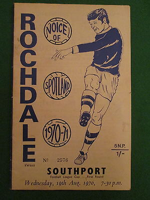 Rochdale V Southport Programme - League Cup - 19Th August 1970