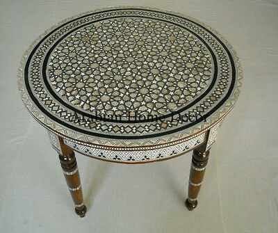 "Handcrafted Egyptian Moroccan Mother of Pearl Wood 24"" Round Coffee Side Table"