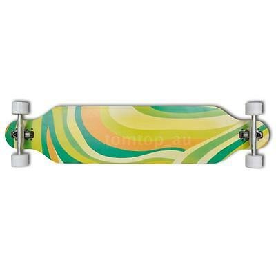 "Longboard 107 cm 9 Ply Maple Skateboard 9"" ALU Truck Green T1O6"