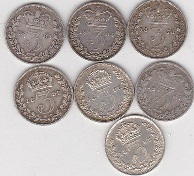 Seven Silver Three Pence Coins Dated 1878 To 1898 In Good Fine Condition