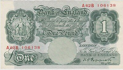 B260 K.o.peppiatt A62B Green One Pound Banknote In Near Mint Condition