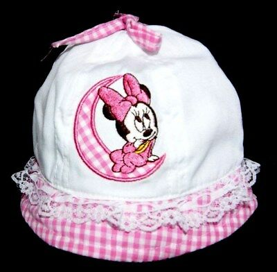 CHAPEAU BOB ETE BEBE 46 cm MINIE MINNIE DISNEY anti UV 30 BLANC rose neuf fille