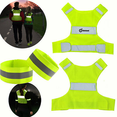 Outdoor Reflective Vest For Running Jogging Cycling+2 Safety Arm/Leg Bands S