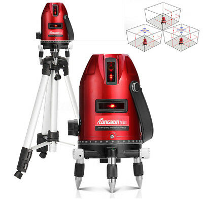 360° Rotary Laser Level Self-Levelling 5 Line 6 Point Measure Meter Tripod Stand