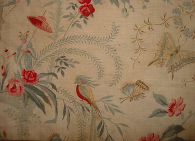 PRETTY FRAGMENT 19th CENTURY FRENCH CHINOISERIE TOILE BIRD BUTTERFLIES