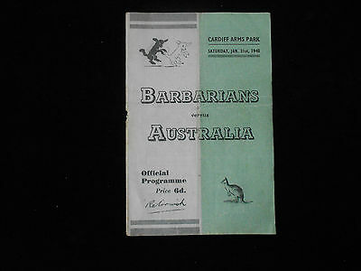 Barbarians V Australia Rugby Union Programme Cardiff Arms Park 1948