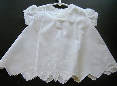 Stunning Vintage White Batiste Baby Dress Very Detailed 13""
