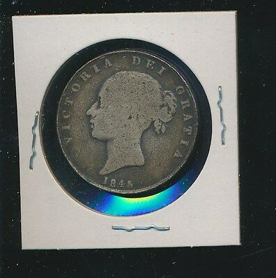 Great Britain  - Silver Half Crown 1845 - Rare Date - Lowest Listed