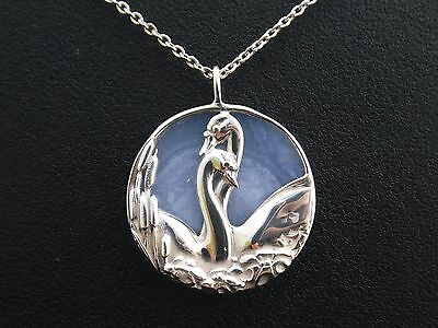 Sterling Silver & Agate Necklace Pendant  by NORMAN GRANT Swans entwined necks