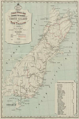 South Island New Zealand railways. Open proposed explored in progress 1909 map