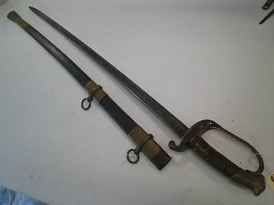 Civil War Us Foot Officers Sword With Scabbard Marked C.roby Etched Blade #b56