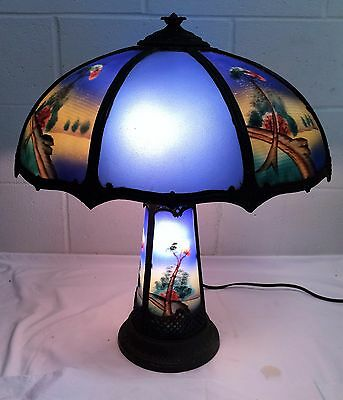Antique Reverse Painted Cobalt Glass Lamp Light Up Base Shade Pittsburgh Handel
