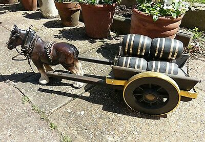 Vintage Large Melba Ware Shire Horse And Wooden Cart Romany Gypsy Horse