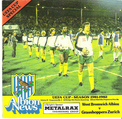 WEST BROMWICH ALBION v GRASSHOPPERS ZURICH  UEFA CUP   1981/2