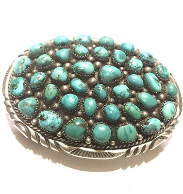 Vintage Navajo Signed James Lee Sterling Silver & Turquoise Cluster Belt Buckle