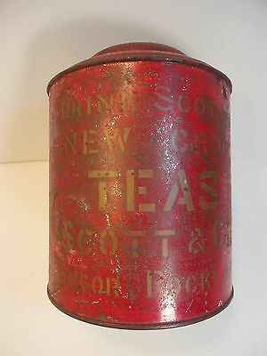 Antique Scott & Co Bangor, Rockland MAINE TEA STORE CANISTER TIN