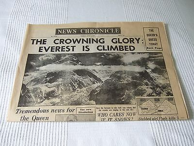ORIGINAL News Chronicle Newspaper 1953 Mount Everest Conquered immaculate! RARE