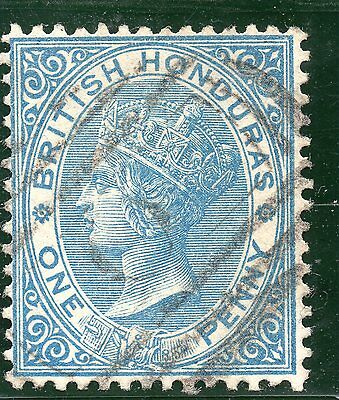 British Honduras 1884 1d blue wmk Crown CA P 14 SG  17 Cat £25