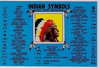 Indian Symbols Postcard Meanings Chief Headdress