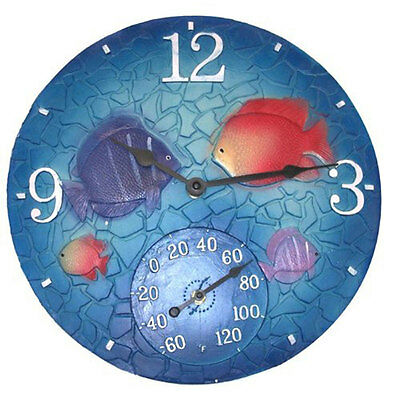 """Springfield 92501 14"""" Tropical Mosaic Fish Clock w/ Thermometer"""