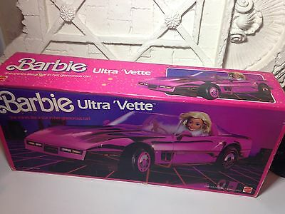 Vintage Mattel Superstar Era Barbie Doll Ultra Vette Corvette Car Metallic Pink~