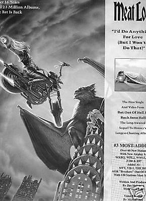 MEAT LOAF 1993 Promo Poster Ad THE BAT IS BACK mint!