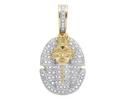 10K Yellow Gold Genuine Diamond Egyptian Pharaoh Pendant Charm 1/4 Ct 27MM
