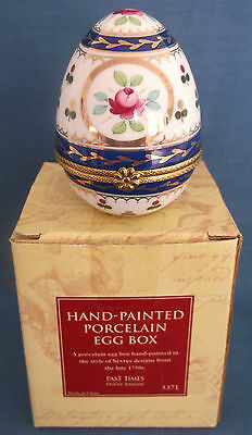 Past Times Sevres Design Hand Painted Finest Porcelain Egg Trinket Box Boxed
