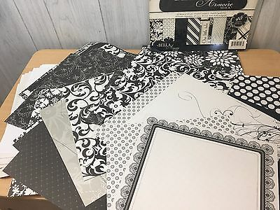 "131+ Piece 12"" by 12"" PREMIUM BLACK & WHITE Damask Variety Scrapbooking Sheets"
