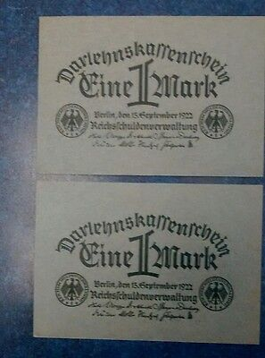 2 - 1922 Germany 1 Mark Banknotes , Au/Unc