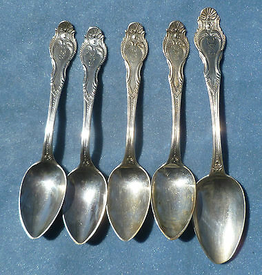 Lot of 5 Mid 1800s Coin Silver Spoons Hoard & Avery