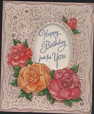 vintage Wallace Happy Birthday Greeting Card oval Silk Pillow pink flowers