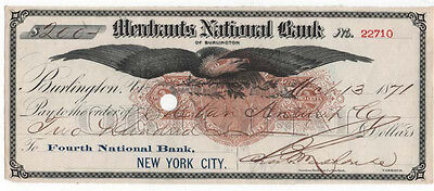 1871 Check, MERCHANTS NATIONAL BANK OF Burlington, Vermont, RN-C2