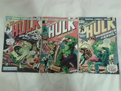 Hulk 180, 181 , 182 , 1st, 2nd, 3rd App of Wolverine, affordable collection