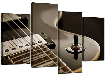 Large Black Electric Guitar Canvas Wall Art Pictures XL Prints 4125
